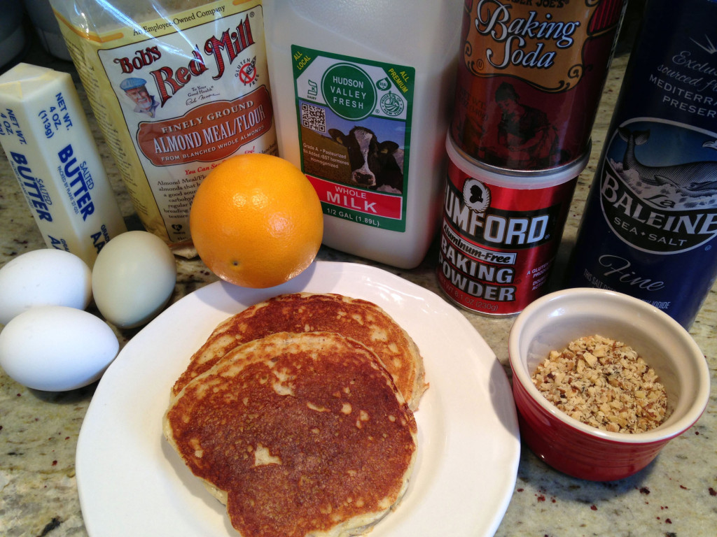 2 Gluten-free pancakes on a plate with all the best ingredients including Red Mill Almond Flour