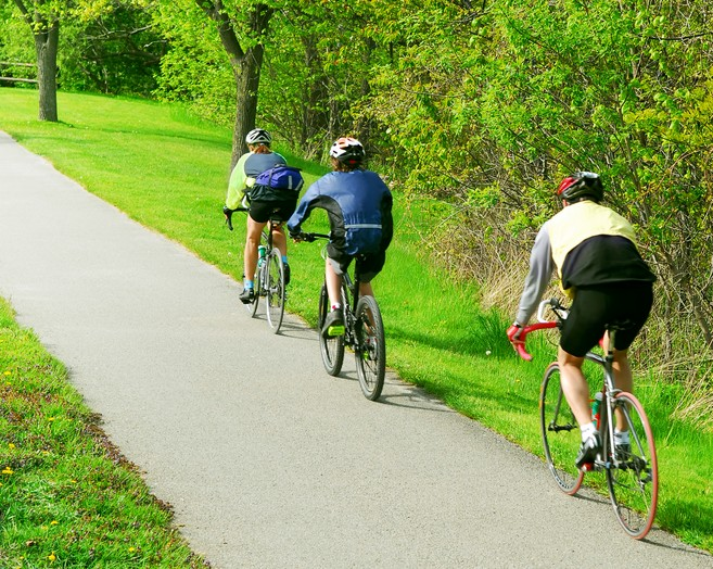 Bikers enjoying the rail trail