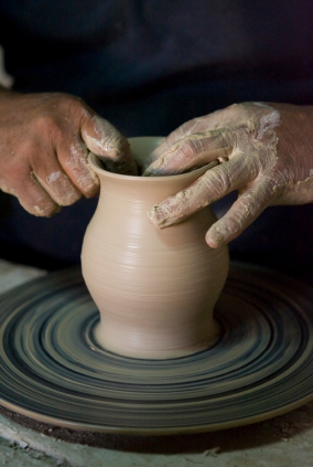 Potter at pottery wheel