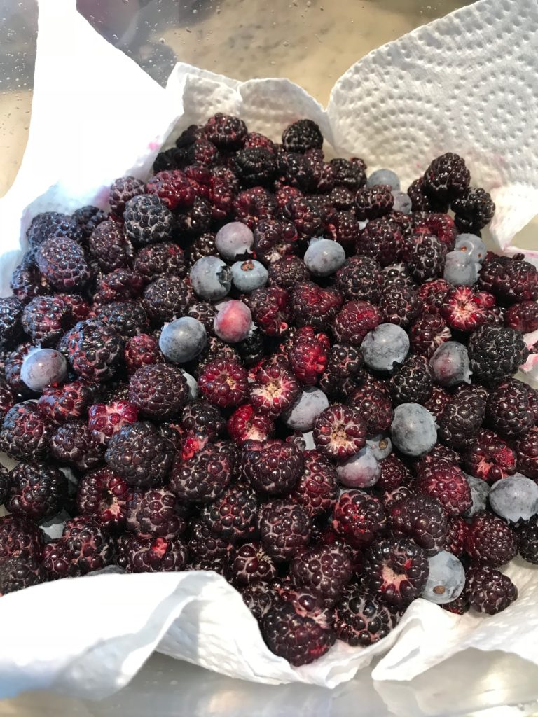 bowl filled with black raspberries and blueberries in a white paper towel