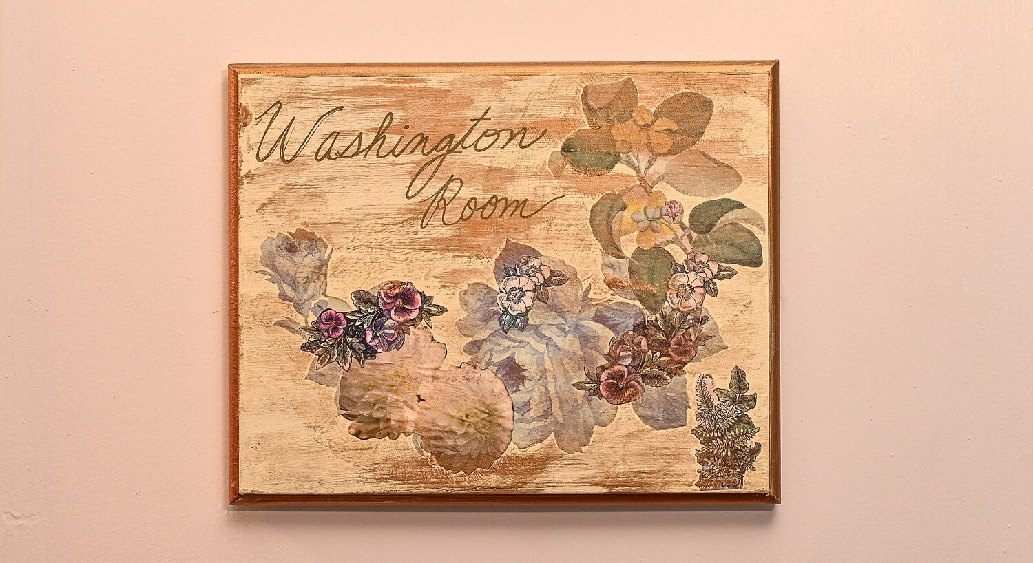 "Weathered cream square sign with painted flowers and text ""washington room"""